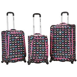 Rockland Deluxe Butterfly 3-piece Spinner Luggage Set