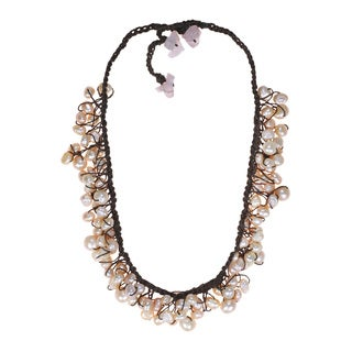 Cotton Natural Pink Pearl and Rose Quartz Necklace (4-8 mm) (Thailand)