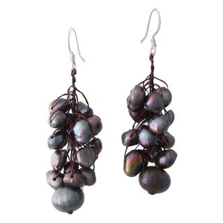 Cotton/ Silver Grape Cluster Black Pearl Earrings (5-10 mm) (Thailand)