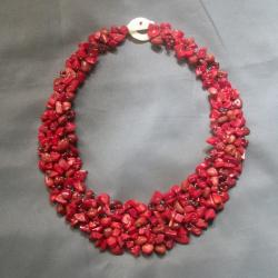 Red Coral, Shell and Bead Collared Cluster Necklace (Philippines)