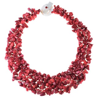 Red Coral, Mother of Pearl, and Bead Collared Cluster Fashion Statement Necklace (Philippines)