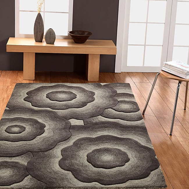 Handmade Alexa Moda Floral New Zealand Wool Area Rug (5' x 8')