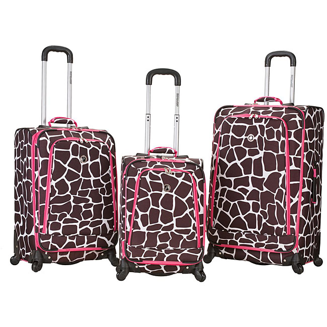Rockland Deluxe Pink Giraffe 3-piece Spinner Upright Luggage Set