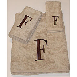 Avanti Brown Block 'F' Monogram 3-piece Towel Set