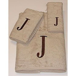 Avanti Brown Block 'J' Monogram 3-piece Towel Set