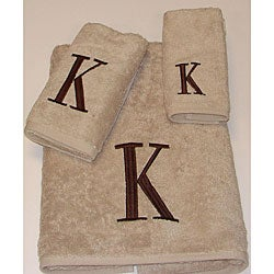 Avanti Brown Block 'K' Monogram 3-piece Towel Set