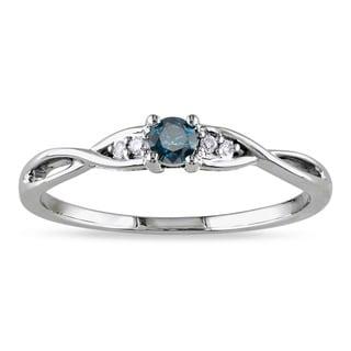 Miadora 10k Gold 1/6ct TDW Blue and White Diamond Ring (G-H, I2-I3)