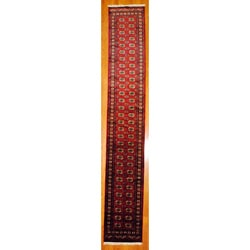 Pakistani Hand-knotted Red/ Burgundy Bokhara Wool Runner (2'7 x 16')