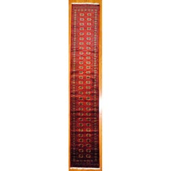 Pakistani Hand-knotted Red/ Burgundy Bokhara Wool Runner (2'7 x 15')