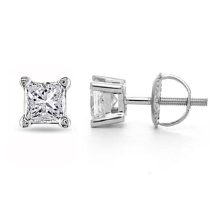 14k White Gold 1/4ct TDW Certified Diamond Stud Earrings (I-J, I1-I2)
