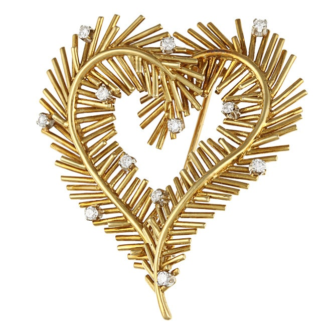 Pre-owned Tiffany 18k Yellow Gold 2/5ct TDW Vintage Heart Brooch (G-H, VS1-VS2)