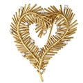 Tiffany 18k Yellow Gold 2/5ct TDW Vintage Heart Brooch (G-H, VS1-VS2)