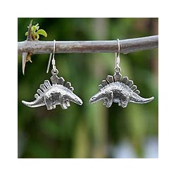 Sterling Silver 'Dinosaur Shield' Dangle Earrings (Thailand)