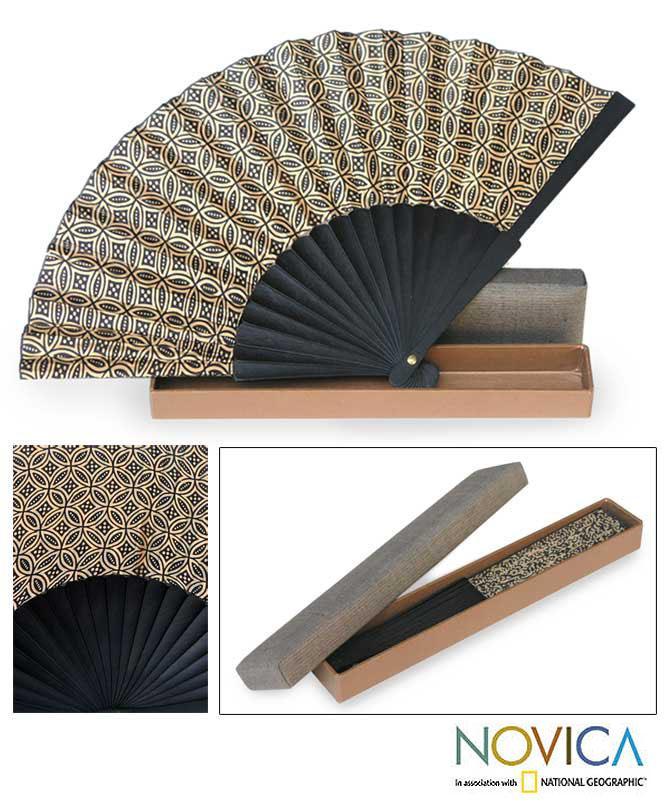 Silk 'Golden Rings' Batik Fan (Indonesia)