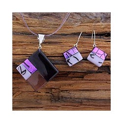 Sterling Silver 'Purple Dream' Dichroic Art Glass Jewelry Set (Mexico)