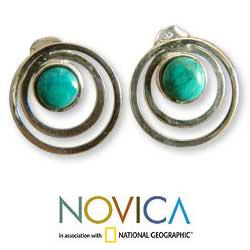 Sterling Silver 'Vibrations' Chrysocolla Button Earrings (Peru)
