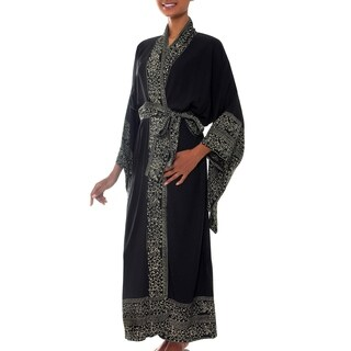 Rayon 'Midnight Rose' Batik Robe (Indonesia)
