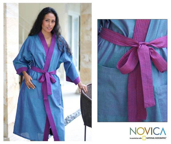 Cotton 'Blue Orchid' Robe (Indonesia)