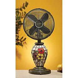 Deco Breeze 10-inch Mosaic Glass Flowers Table Fan