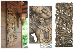 Rain Tree Wood 'Angel Blessing' Wall Relief Panel (Thailand)