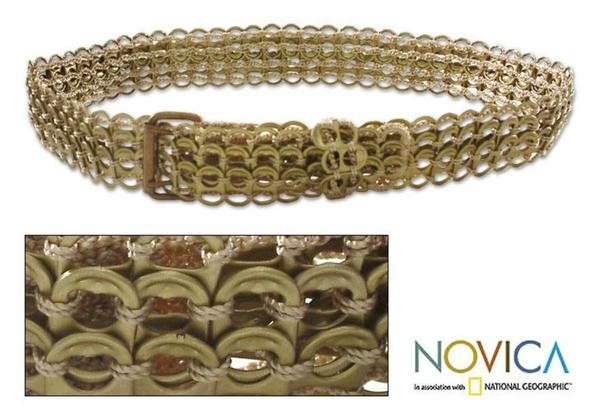 Women's Aluminum Soda Pop Tab 'Bronze Chain Mail' Belt (Brazil)