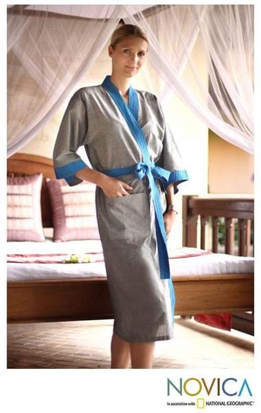 Cotton 'Ikat Ocean' Robe (Indonesia)