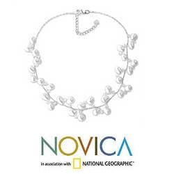Stainless Steel 'Spiral' Pearl Choker Necklace (4-7 mm) (Thailand)