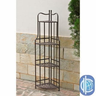 International Caravan Santa Fe Nailhead 4-tier Corner Shelf