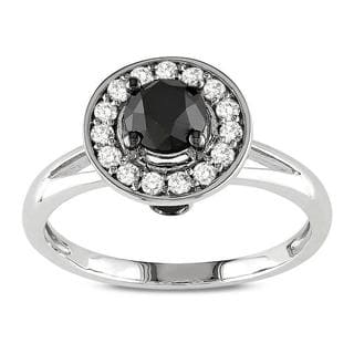 10k White Gold 1ct TDW Black and White Round Halo Diamond Ring