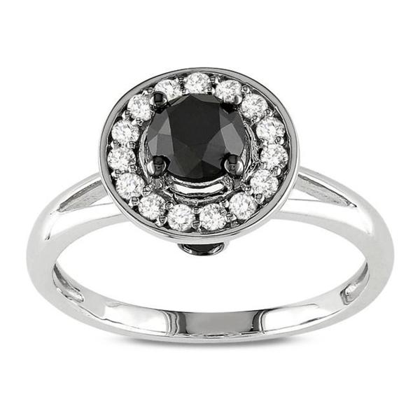 Miadora 10k White Gold 1ct TDW Black and White Round Halo Diamond Ring