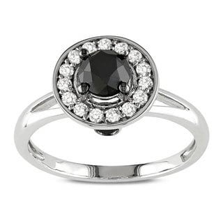10k White Gold 1ct TDW Black and White Diamond Ring (G-H, I2-I3)