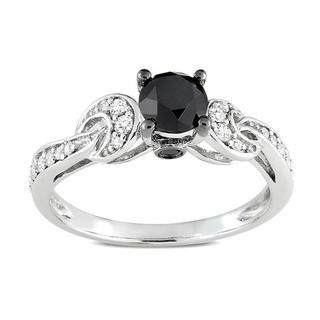 Miadora 10K White Gold 1Ct TDW Prong-set Black and White Diamond Ring with Bonus Earrings