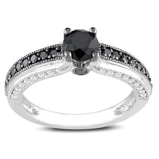Miadora 10k White Gold 1 1/4ct TDW Black and White Diamond Ring (G-H, I2-I3)