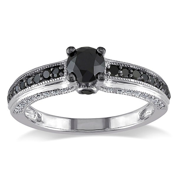 Miadora 10k White Gold 1 1/4ct TDW Black and White Round-cut Diamond Ring (G-H, I2-I3)