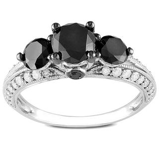 Miadora 10k Gold 2ct TDW Round Cut Three Stone Black Diamond Ring (G-H, I2-I3) with Bonus Earrings