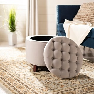 Safavieh Amelia Tufted Light Grey Linen Storage Ottoman