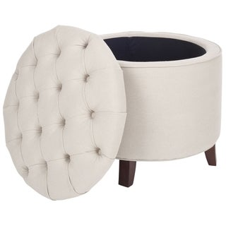 Safavieh Reims Light Grey Linen Storage Ottoman