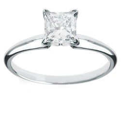 14k White Gold 1 1/4ct TDW Princess-cut Diamond Solitaire Engagement Ring (H-I, I1-I2)