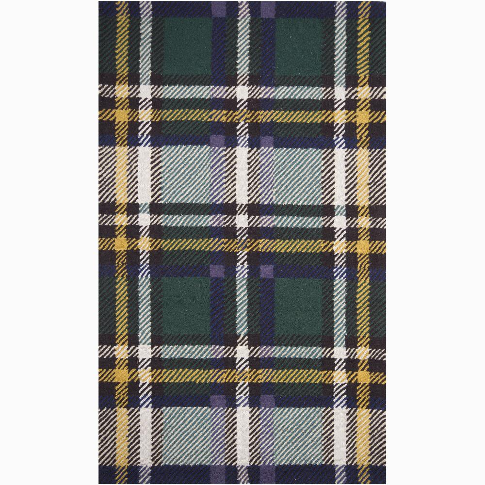 Hand-hooked Mandara Geometric Green Wool Rug (3' x 5')
