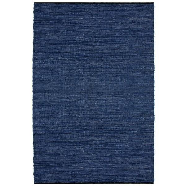 Hand-woven Matador Blue Leather Rug (5' x 8') - 5' x 8' 8116731