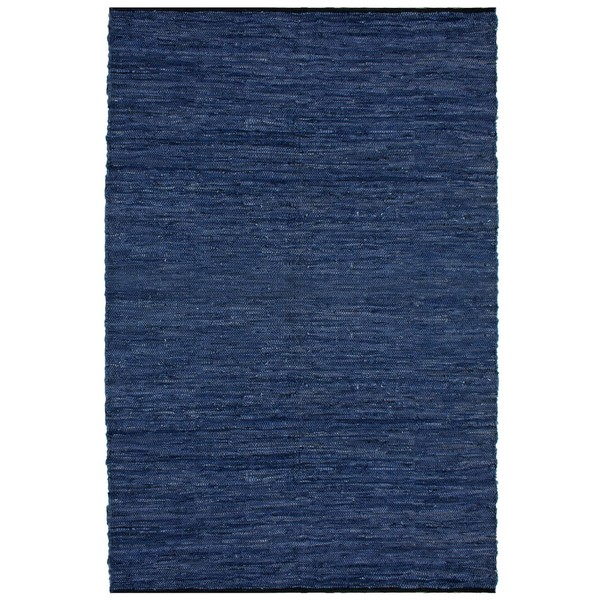 Hand-woven Matador Blue Leather Rug (5' x 8') 8116731