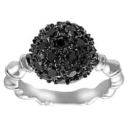 Journee Collection Silvertone Pave-set Black CZ Dome Ring