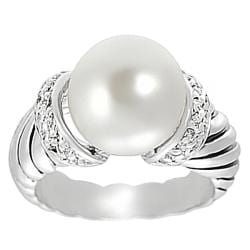 Journee Collection Silvertone Pave-set CZ Faux Pearl Twist Ring