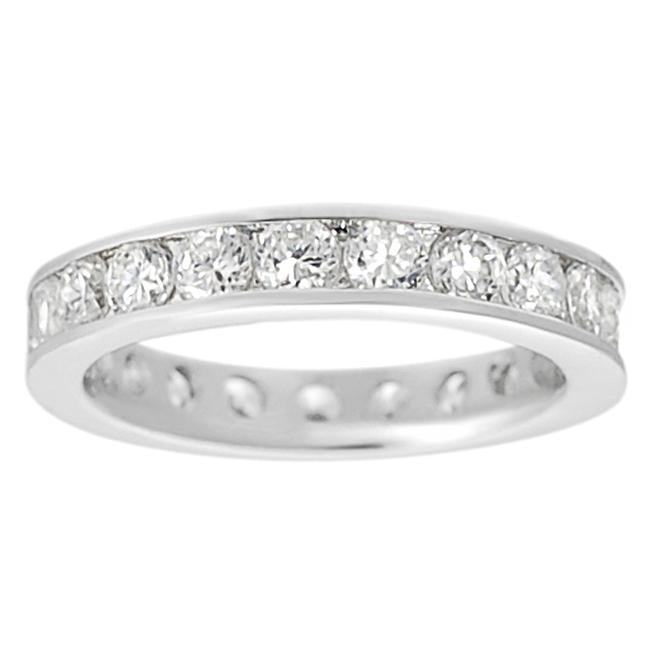 Journee Collection Journee Collection Silvertone Channel-set Cubic Zirconia Ring