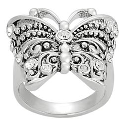 Journee Collection Silvertone CZ-accented Butterfly Ring
