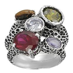Journee Collection Silvertone Multi-colored CZ Hammered Tri-band Ring