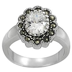 Journee Collection Silvertone Brass CZ and Created Marcasite Flower Ring