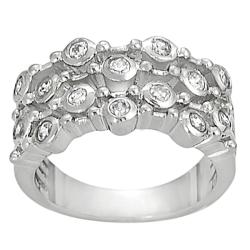 Tressa Collection Silvertone Bezel-set Cubic Zirconia-accented Four Strand Ring