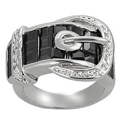 Journee Collection Silvertone CZ and Created Onyx Buckle Ring