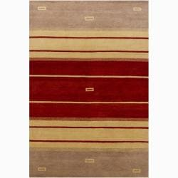 Hand-knotted Striped Wool Rug (5' x 7'6)